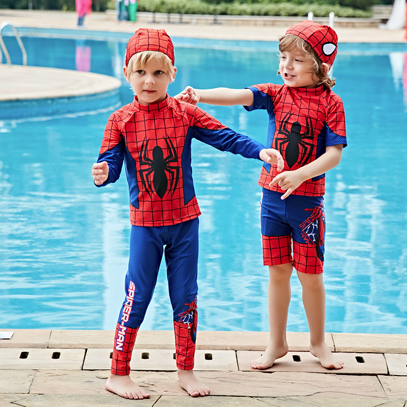 KID'S Swimwear Boy Small CHILDREN'S Children Spider-Man Split Type Long Sleeve Sun Protection Clothing Short Sleeve Boxers Swimw