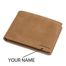 BOBO BIRD Genuine Leather Wallet Engrave Your Name 4 Colors Slim Purse Money Wallet Money Clip Gift For Him Customize(China)
