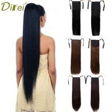 Длинные прямые волосы DIFEI для конского хвоста, синтетические термостойкие волокна для удлинения конского хвоста