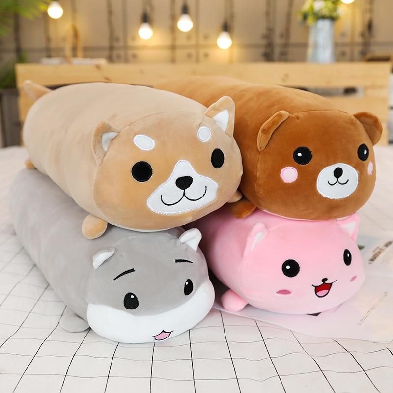 long animals plush toy stuffed squishy animal bolster pillow dog cat shiba inu plushie toy sleeping friend gift for kid children