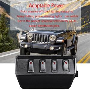 Image 3 - 80 Amp On/Off 20A Rocker Switch Box Emergency Strobe Light LED Backlit 12AWG Input Draad 12V SPST 6 Gang Toggle Controller Panel