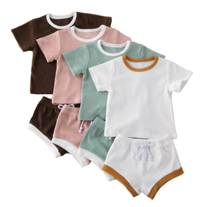 Infant Baby Girl Boy Clothes Short Sleeve Striped Tops T-shirt Drawstring Shorts Pants Outfits Summer Active Casual Clothes Sets
