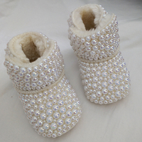 19New Baby Custom Rhinestones bling Boots Infant Cotton Luxury Shining Pearl Decoration baby girls Boots Shoes Autumn Winter