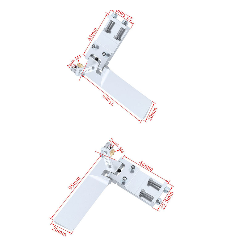 Aluminum Long Rc Boat Rudder With Water Pickup Absorbing Steering For Electric Gas Remote Control Model Parts Cnc