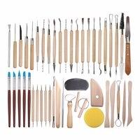 45 шт. Наборы инструментов для лепки из керамической глины для начинающих, профессиональные художественные поделки, деревянные ручки, инстр...