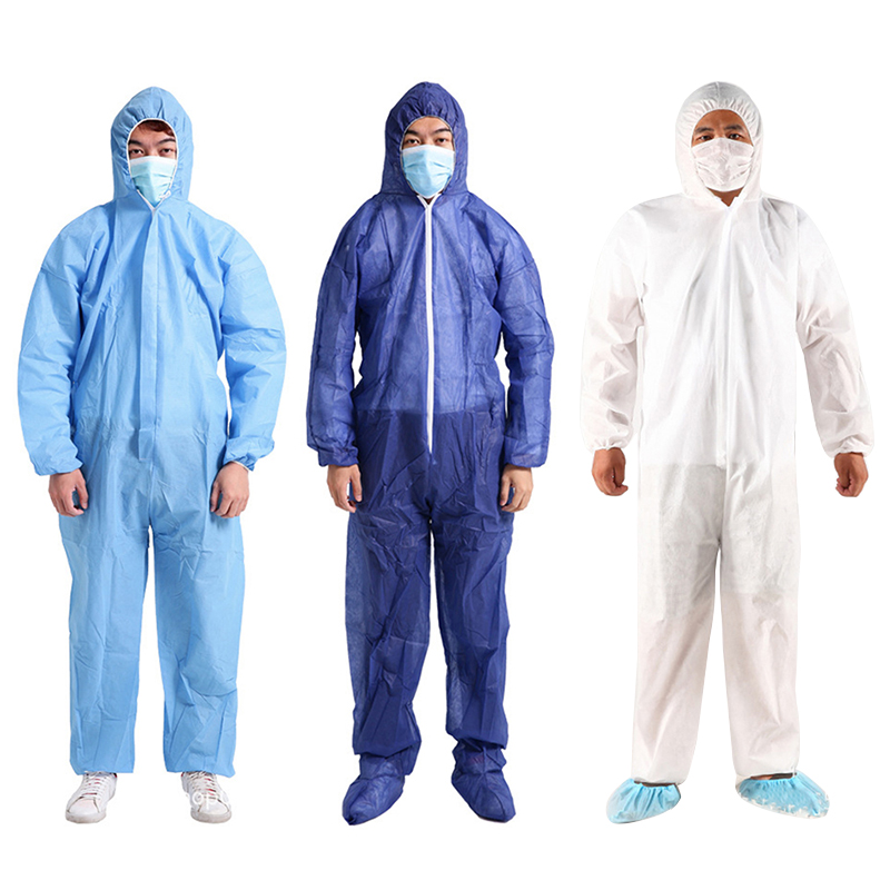 Unsex Disposable Coveralls Hood Painters Protective Overalls Suit Waterproof Dust Oil Resistant Protective Coverall