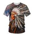 Мужская футболка с 3D-принтом индийской культуры, Новинка лета 2021, футболки с круглым вырезом и коротким рукавом, топы, стильная мужская одеж...