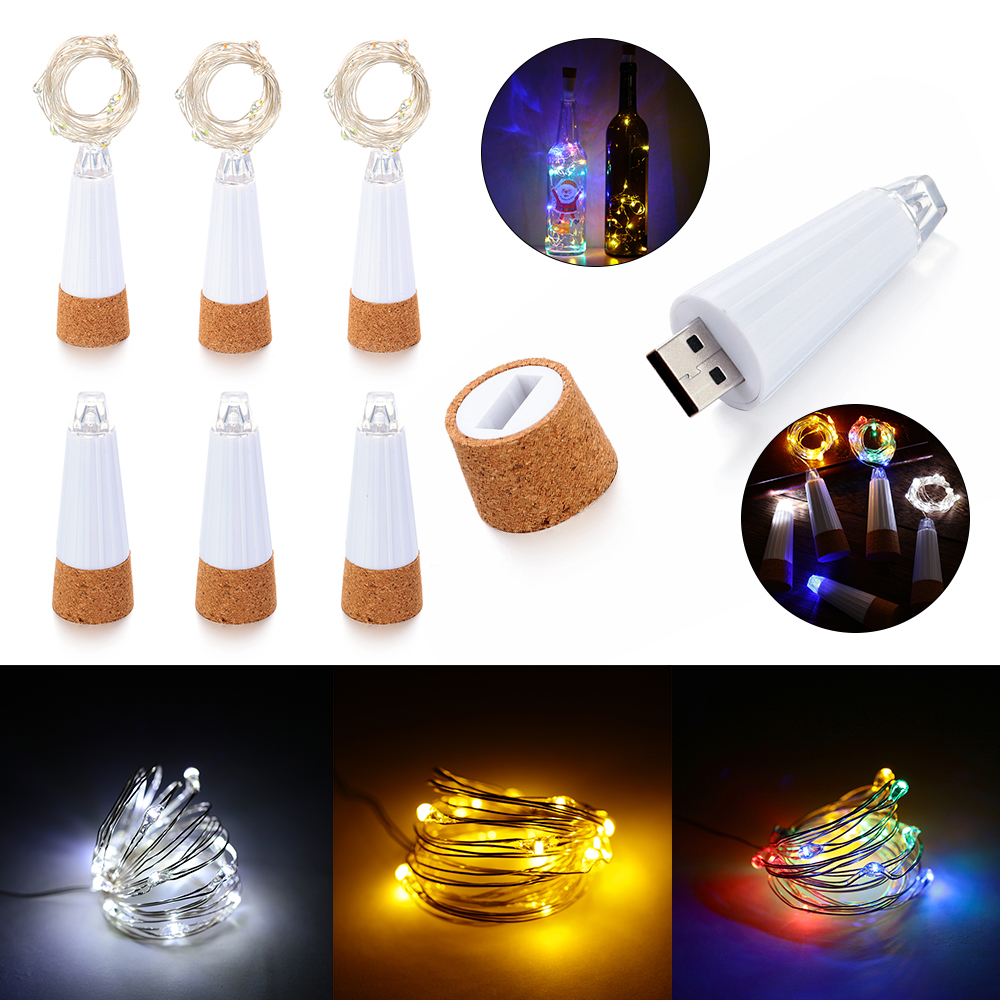 USB Rechargeable Powered LED Wine Bottle Fairy Lights Wedding Garden Decorative String Light Outdoor Lighting Garland Party Lamp