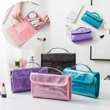 Glitter Bag Cosmetic Makeup Organizer Travel Pouch PVC Toiletry Case Waterproof PVC+ Oxford cloth