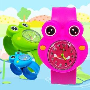 Nowe wydanie produktu żaba dzieci zegarki dzieci dziewczyna pasek silikonowy cukierki kolor kreskówka motyl dziecko zegarek kwarcowy na rękę zegar