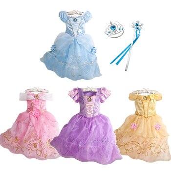 Robe dété princesse pour filles | Frocs, frocs, modèle princesse blanche-neige, cendrillon, Aurora, Sofia, Belle, Costume pour Halloween, fête danniversaire