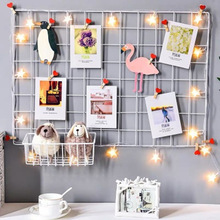 Shelf-Organizer Rack-Holder Postcards Storage Iron-Grid-Decor Wall-Decoration Photo-Frame