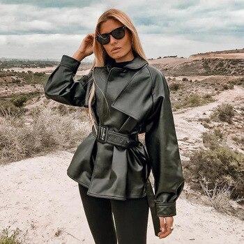 2020 Women Jacket Moto Biker Solid Autumn Winter Sexy Leather Female Long Sleeve Solid Belt Fashion Street Coat Outwear