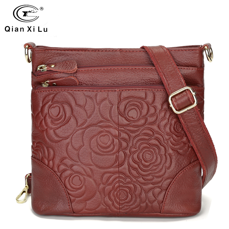 Vintage Bags For Women 2019 Genuine Leather Cross Body Bags High Quality Flower Tote Women Shoulder Messenger Bag