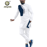2019 African Men Clothing Set 2 Piece Tracksuit Dashiki Coats Jacket and Ankara Pants Outfit Shirt Suit AFRIPRIDE S1916034