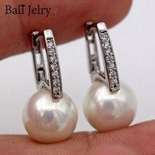 Bali Jelry Fashion 925 Silver Earrings for Women Jewelry Accessories Pearl Zircon Gemstone Drop Earring Wedding Engagement Gift