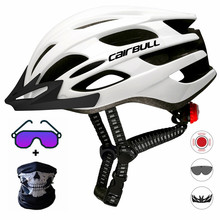 Cairbull capacete de ciclismo respirável, com viseira removível, óculos de bicicleta, lanterna traseira, segura, capacetes de montanha e estrada mtb