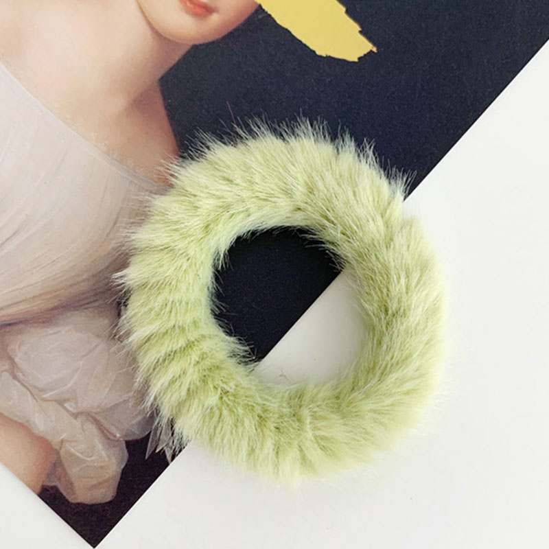 Новые зимние теплые мягкие резинки из кроличьего меха для женщин и девушек, эластичные резинки для волос, плюшевая повязка для волос, резинки, аксессуары для волос - Цвет: 61