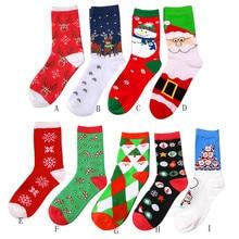 1 пара, зимние женские носки, теплые шерстяные рождественские носки до середины икры, шерстяные, снежинки, олени, удобный подарок, милые носки для девочек, Meias HX0728
