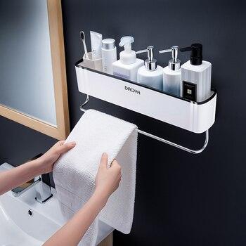 Bathroom Shelf Wall Mounted Shampoo Shower Shelves Holder Kitchen Storage Rack Organizer Towel Bar Bath Accessories 2