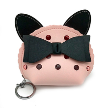 Bowknot Girls Purse PU Clear Purse Key Ring Cat Purse Women's Coin Purse Short Student Cute Mini Coin Bag Small Wallet Keychain
