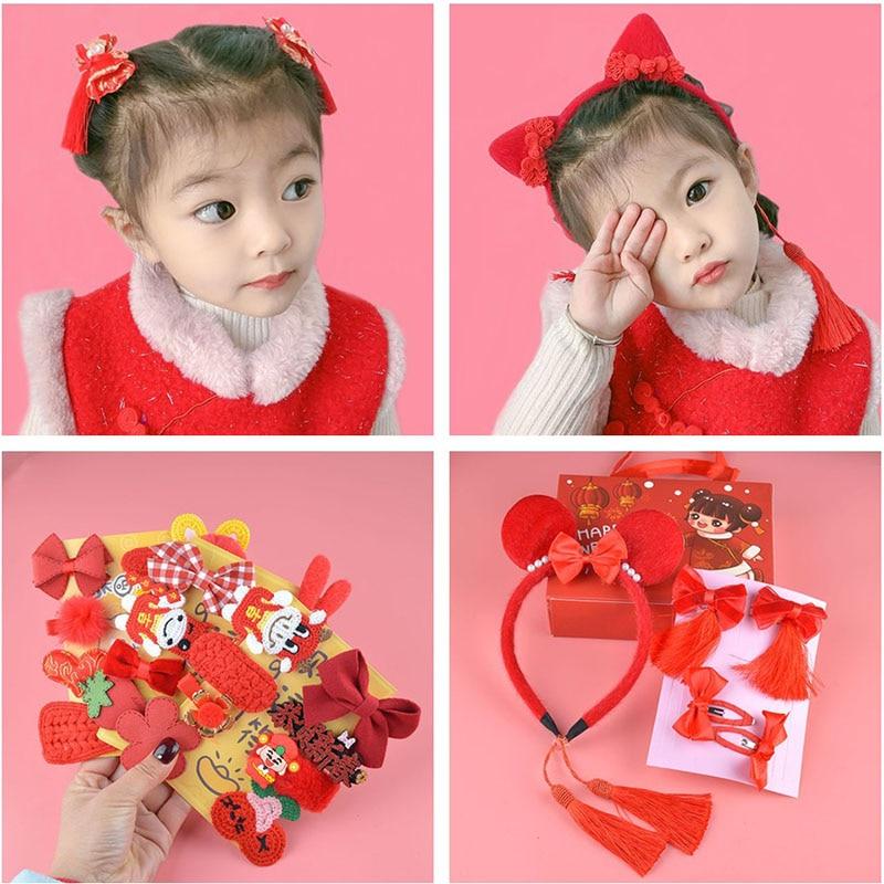 Ano novo clipe de cabelo vermelho conjunto crianças bowknot hairgrip acessórios de cabelo flor headdress meninas do bebê estilo chinês hairpin venda quente