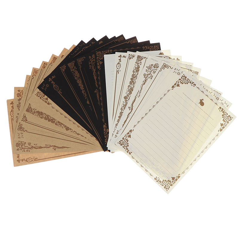 Letter Paper Stationery Writing-Paper-Letter Kraft 8-Sheets Brown Vintage Pad Sketch-Pad