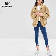 ROHOPO Fleece Lapel Collar Side Welt Pockets Zipper Fly Khaki Jacket Autumn Female Cute Outwear #9875 цена в Москве и Питере
