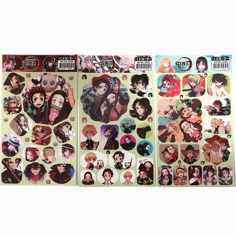 12 Pcs/Set Demon Slayer Kimetsu No Yaiba Anime Decorative Sticker Scrapbooking DIY Diary Album Stickers Label