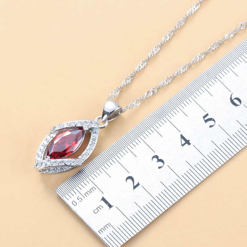 เงินสีผู้หญิงสวยงานแต่งงาน 4PCS ชุดเครื่องประดับแหวนพลอยสีแดงขนาด 6/7/8/9/10 ความยาวสร้อยข้อมือ 18 ซม.JS32