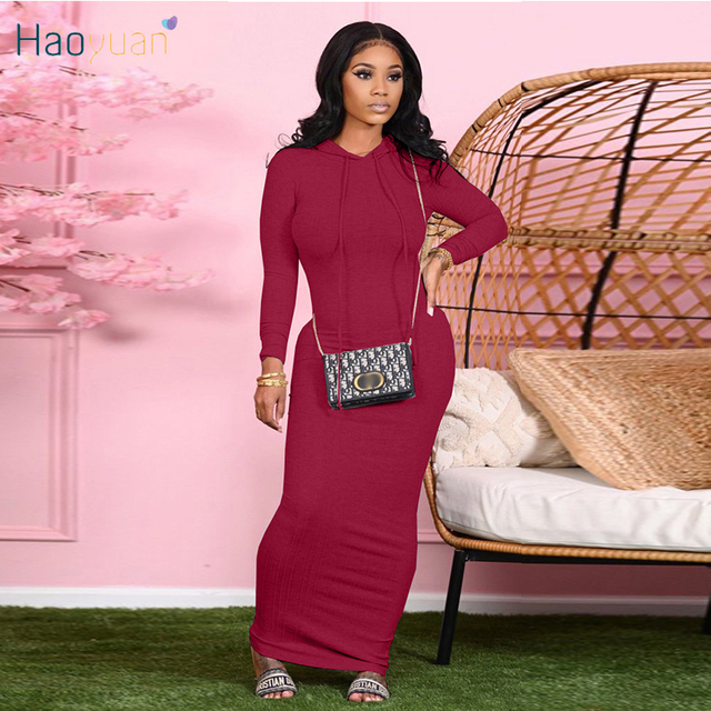HAOYUAN Sexy Knitted Bodycon Maxi Dress Long Sleeve Hoodies Fall Clothes for Women Outfit Streetwear Birthday Night Club Dresses 1