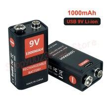 Micro batterie Lithium-ion Rechargeable USB 9 V, 1000mAh, 6F22, pour jouet hélicoptère RC