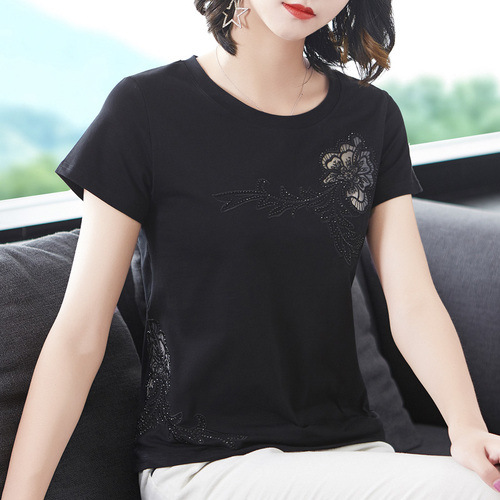 2020 New Embroidered Hollow Solid Color Round Neck Cotton Short-sleeved T-shirt Women