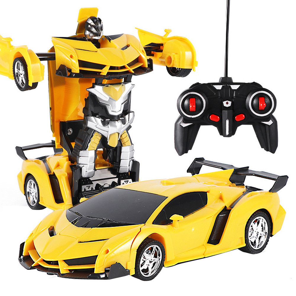 Rc Transformer 2 In 1 RC Car Driving Sports Cars Drive Transformation Robots Models Remote Control Car RC Fighting Toy Gift