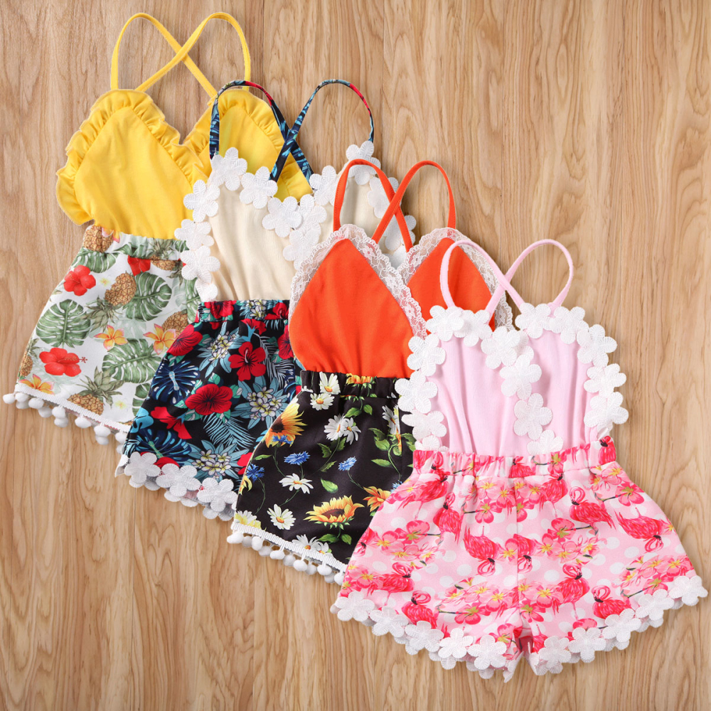 Girl Romper 2020 Toddler Kids Baby Girls Lace Sunflower Sleeveless V-neck Romper Playsuit Sunsuit Outfits Set