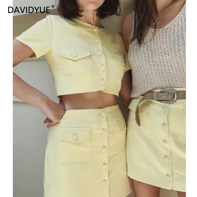 Blouse Women Skirt Sets Yellow Ladies Crop Tops Elegant Short Skirts Streetwear Korean Fashion Set Clothing Summer 2020