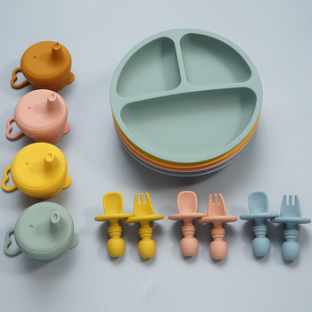 Baby Accessories Toddler Feeding Silicone Dinner Plate Waterproof Soft Infant Fork Spoon With Portable Kids Silicone Cup Cover