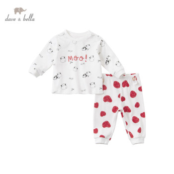 DBX15588 dave bella winter baby boys fashion cow cartoon clothing sets kids cute sets children image