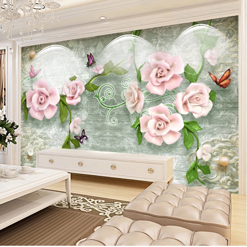 Modern Home Deocr Custom Bedroom Mural Wallpaper TV Background 3D Relief Pink Flowers Wall Mural Room Landscape Wall Paper Stick