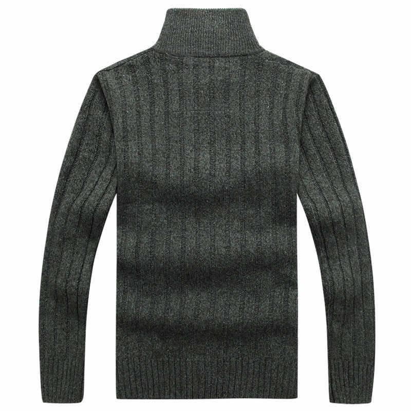 Musim Gugur Sweater Pria Casual Longgar Berdiri Zipper Kerah Lengan Panjang Rajutan Hangat Memakai Cardigan Pria M-XXXL Pria Sweatercoat Cardigan