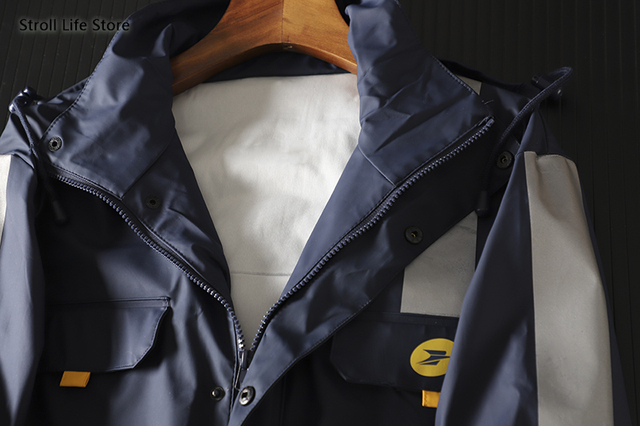Outdoor Jacket Windproof Raincoat Men Bule Tooling Rain Coat Electric Motorcycle Rainwear Poncho Casaco Masculino Birthday Gift 2