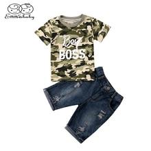 Child Clothing 2pcs Set Newborn Toddler Kid Baby Boy Camo BOSS Print T Shirt Tops Short Sleeve+ Shorts Outfits