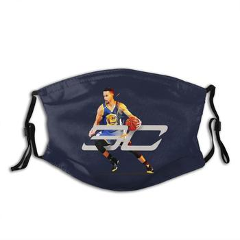 Curry Low Poly Print Washable Filter Anti Dust Mouth Mask Steph Stephen Curry Basketball Player Sports Low Poly Vectorart