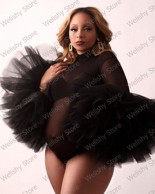 Fashion Black See Thru Maternity Tulle Dress For Women Photography Puffy Ruffled Sleeve Bodysuit South Africa Style Plus Size 2