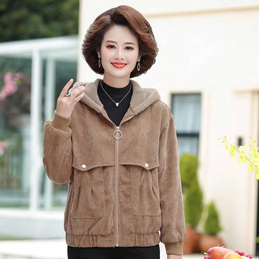 Зимняя осенняя куртка с капюшоном на флисовой подкладке, женское теплое вельветовое пальто, короткая теплая верхняя одежда для зрелых женщин, одежда серого и кофейного цвета