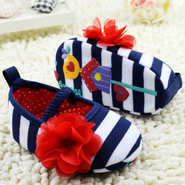 Lovely Baby First Walkers Girls Infant Striped Flower Decor Soft Elastic Shoes  Prewalker