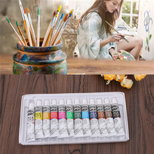 Hot New 6 ML 12 Color Professional Acrylic Paint Watercolor Set Hand Wall Painting Brush pigment powder(China)