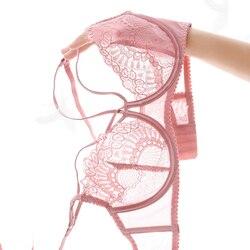 Embroidery Transparent Bra And Panty Set Lace Lingerie Plus Size Girl Female Temptation Bottom Push Up Sexy Women Underwear Set