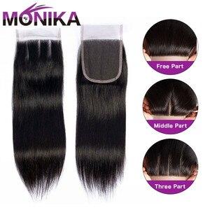 Image 4 - Monika fechamentos de cabelo peruano fechamento em linha reta do cabelo humano 4x4 fechamento do laço suíço 1 peça não remy cabelo frete grátis