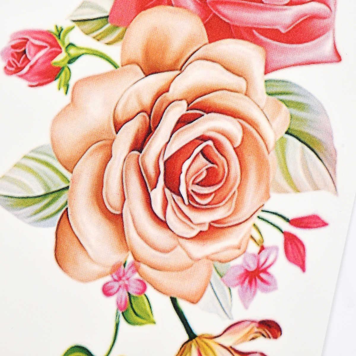 1 قطعة حجم كبير روز الزهور المؤقتة الوشم ملصقات مثير النساء الذراع الكتف الجسم للماء فلاش لصاقات وشم